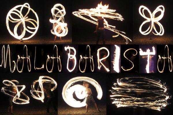 Malabarista Feuerkunst Seite der Magdeburger Feuerspieler
